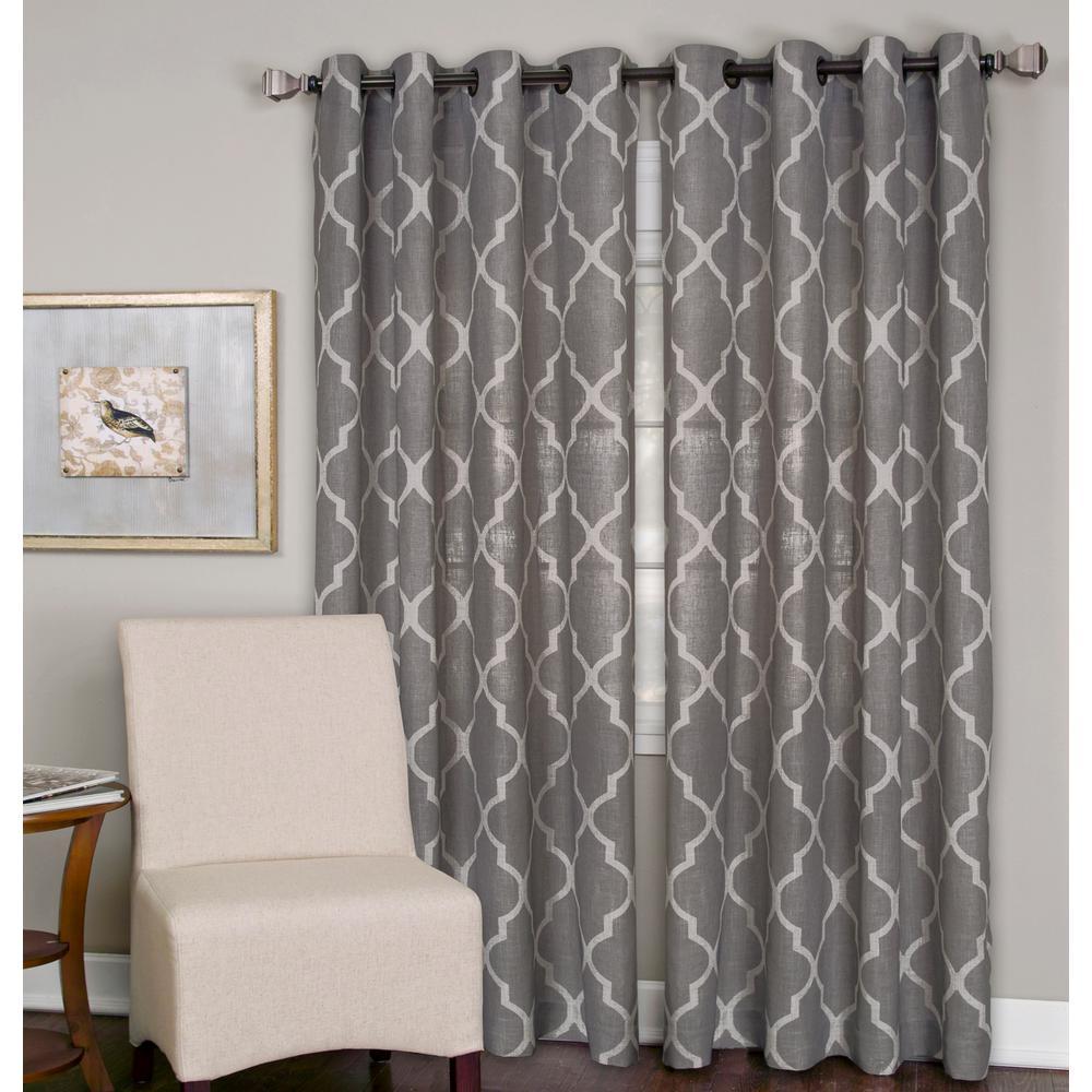 Medalia Dark Gray Grommet Top Window Curtain Panel - 52 in. W x 95 in. L
