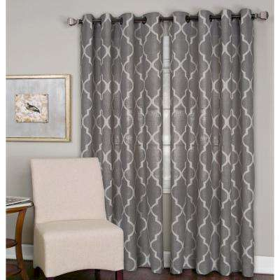 Medalia Dark Gray Grommet Top Window Curtain Panel - 52 in. W x 95 in. L