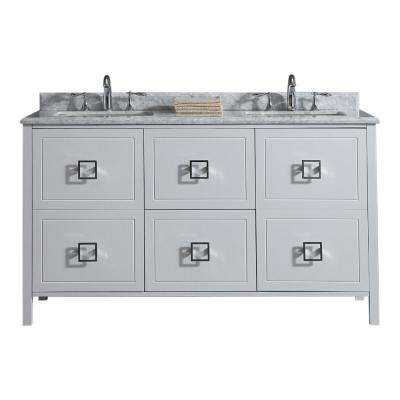 Drexel 60 in. W Vanity in White with Marble Vanity Top in White with White Sinks