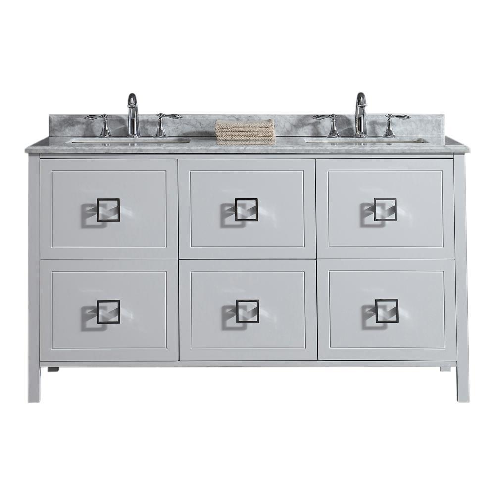 Drexel 60 in. W Vanity in White with Marble Vanity Top