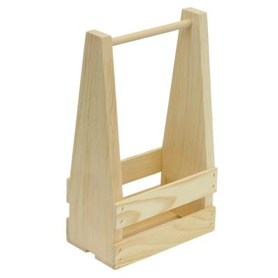 2-Bottle Wood Wine Crate Carrier Unfinished