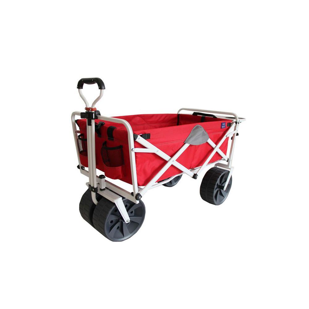 Folding Heavy-Duty All Terrain Beach Wagon with Side Table, Red Grey