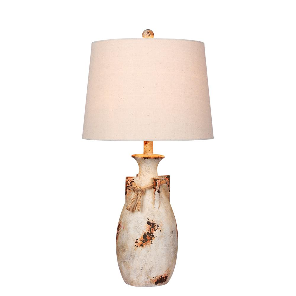 Fangio Lighting 27.5 in. Antique Natural Distressed Jug with Rope Collar Resin Table Lamp
