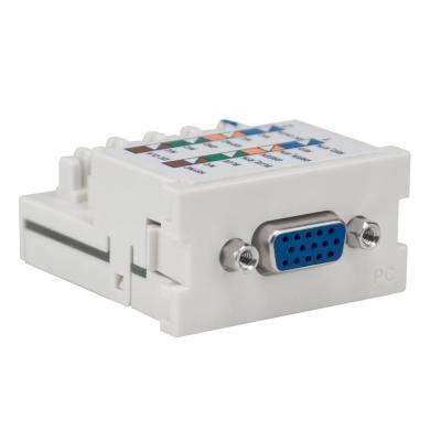 VGA 110-Termination Multimedia Outlet System (MOS) PC Module, White