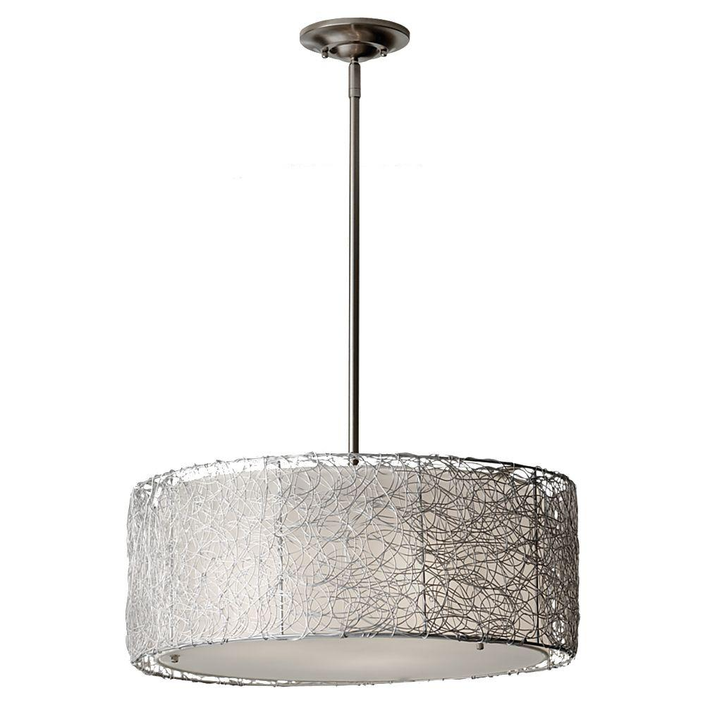 Wired 3 Light Brushed Steel Chandelier With Fabric Shade