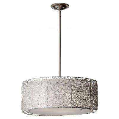 Wired 3-Light Brushed Steel Chandelier with Fabric Shade