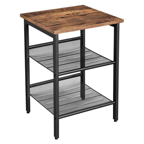 Brown and Black Wood and Metal Frame Nightstand with 2 Open Mesh Shelves 15.7'' L x 15.7'' W x 21.7'' H