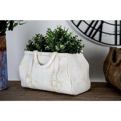 10 in x 17 in. White Concrete Purse Planter