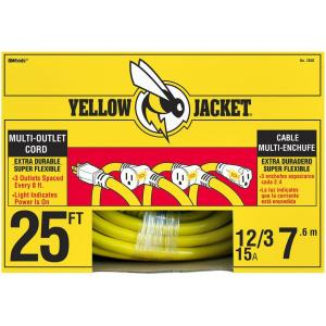 Yellow Jacket 25 ft. 12/3 STW Multi-Outlet (3) Outdoor Heavy-Duty Extension Cord... by Yellow Jacket