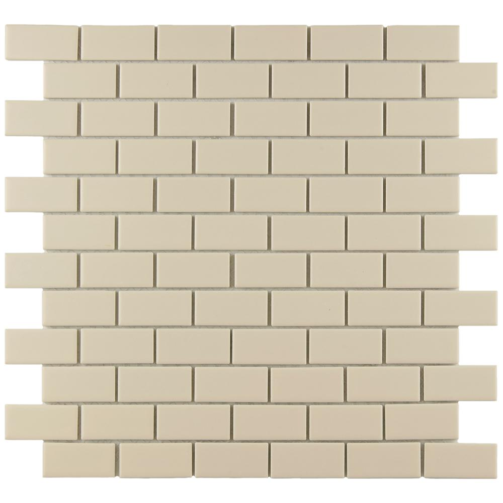 Merola Tile Metro Subway Matte White 11 3 4 In X 5 Mm Porcelain Mosaic 9 6 Sq Ft Case Fxlmsmw The Home Depot