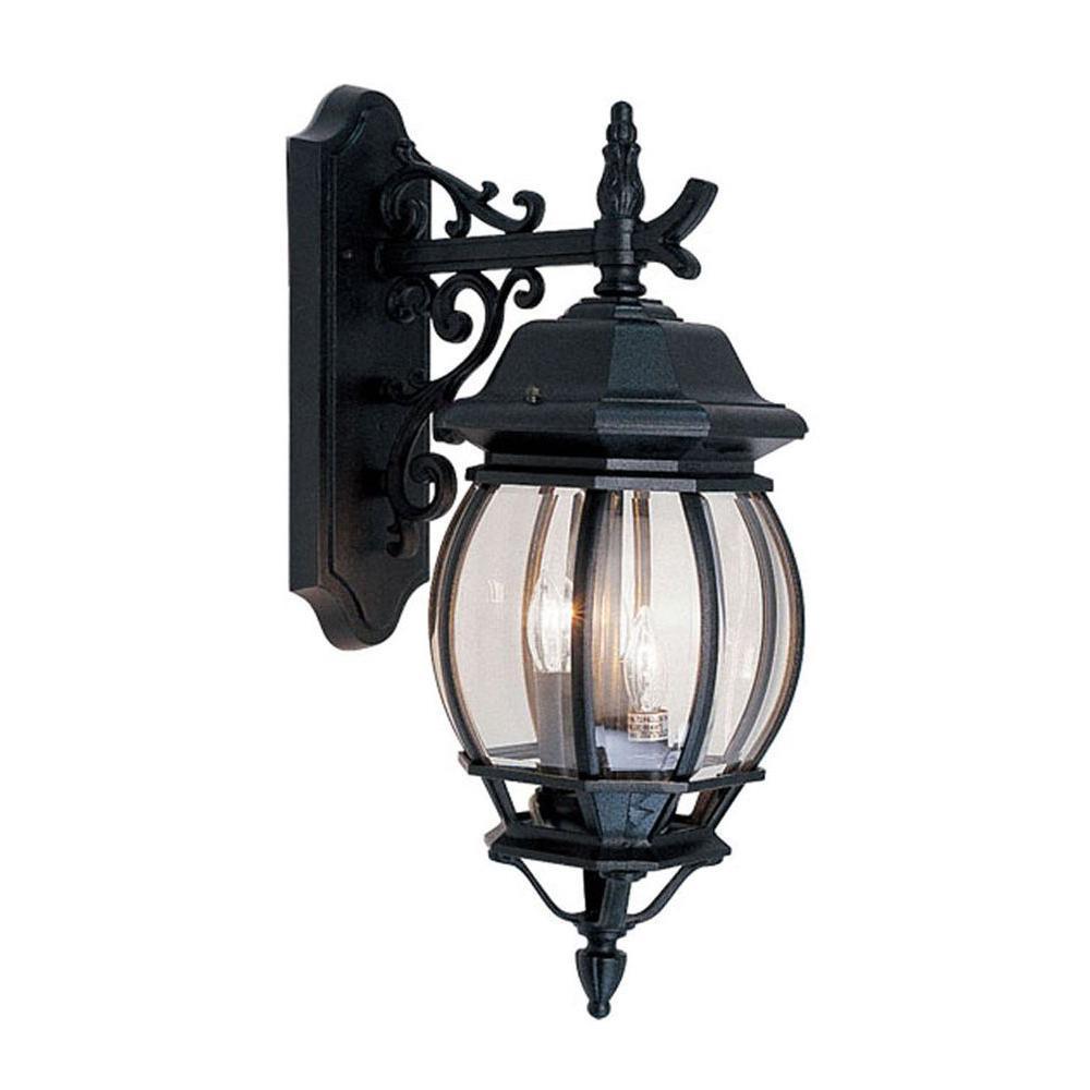 Livex Lighting Providence 3-Light Black Outdoor Incandescent Wall-Mount Lantern