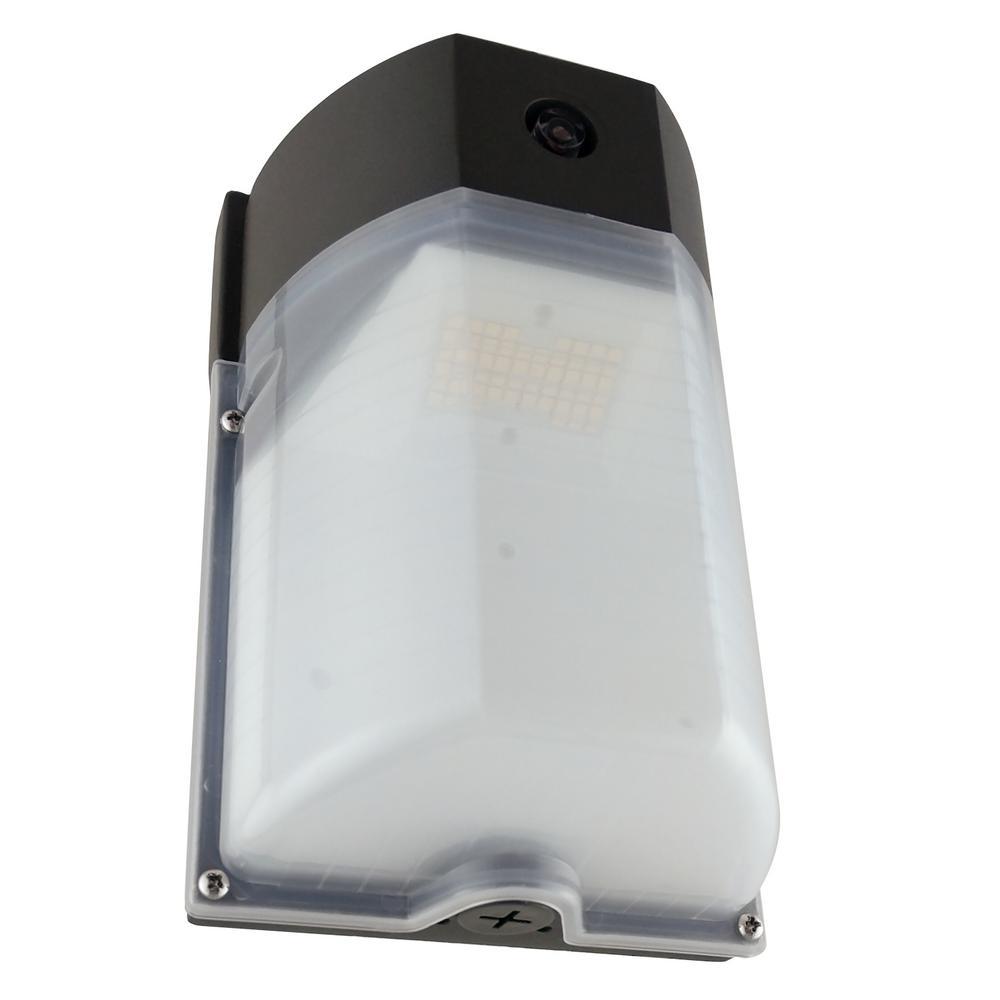 100-Watt Equivalent Integrated LED Bronze Mini Outdoor Wall Pack Light, 4000K Cool White