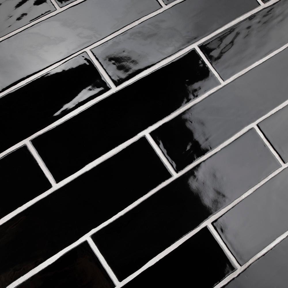 Merola Tile Chester Nero 3 in. x 12 in. Ceramic Wall Tile (1 sq. ft. / pack)
