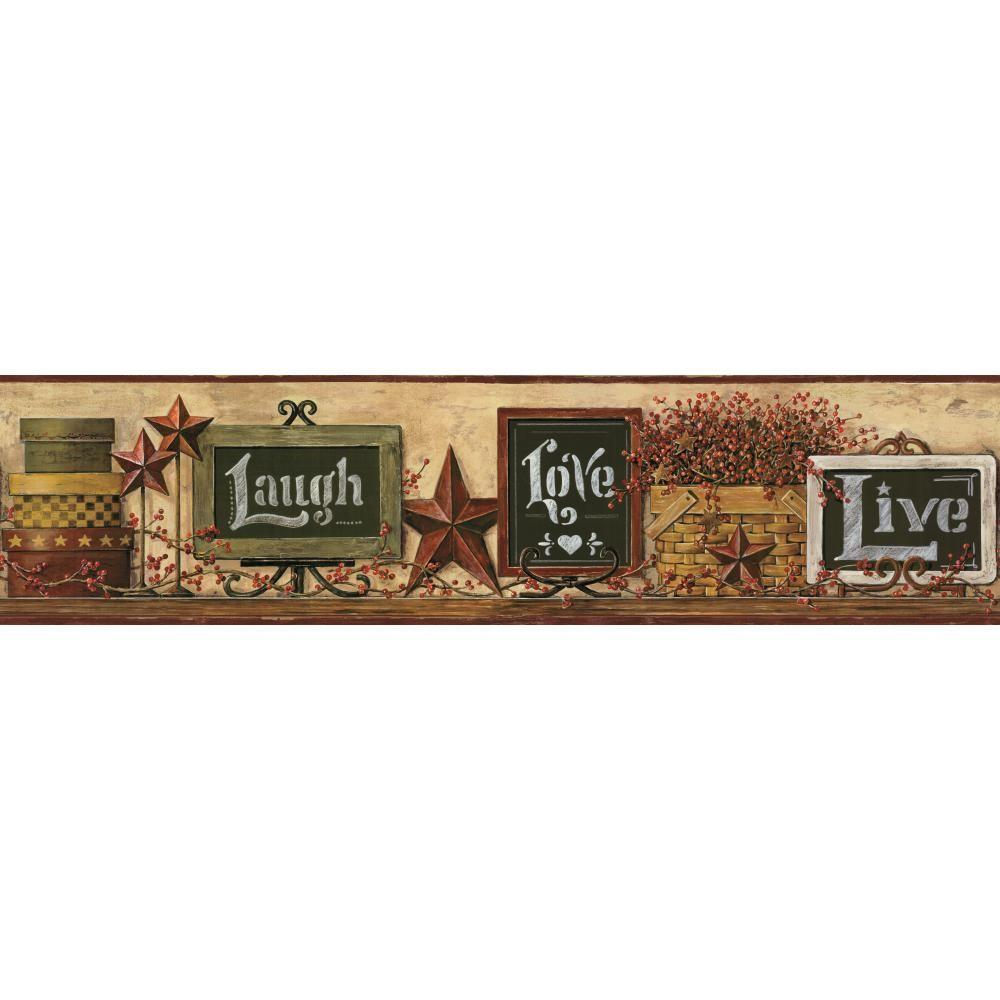 Country Keepsakes Country Chalkboard Shelf gold, green, red, black, white, brown Wallpaper Border