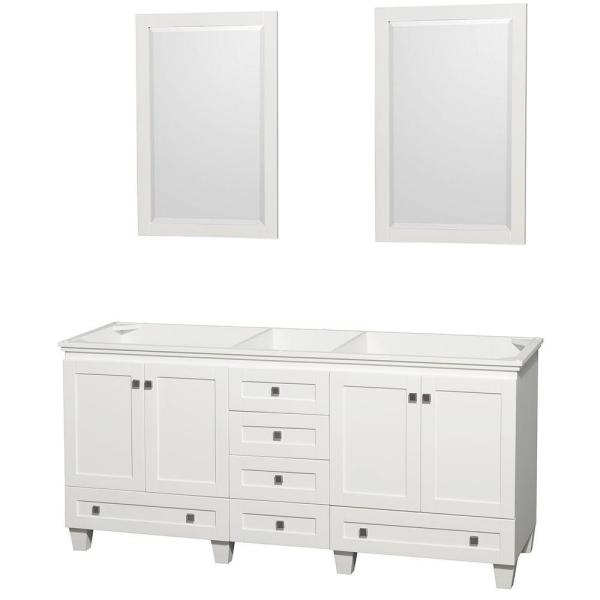Acclaim 72 in. Double Vanity Cabinet with 2 Mirrors in White