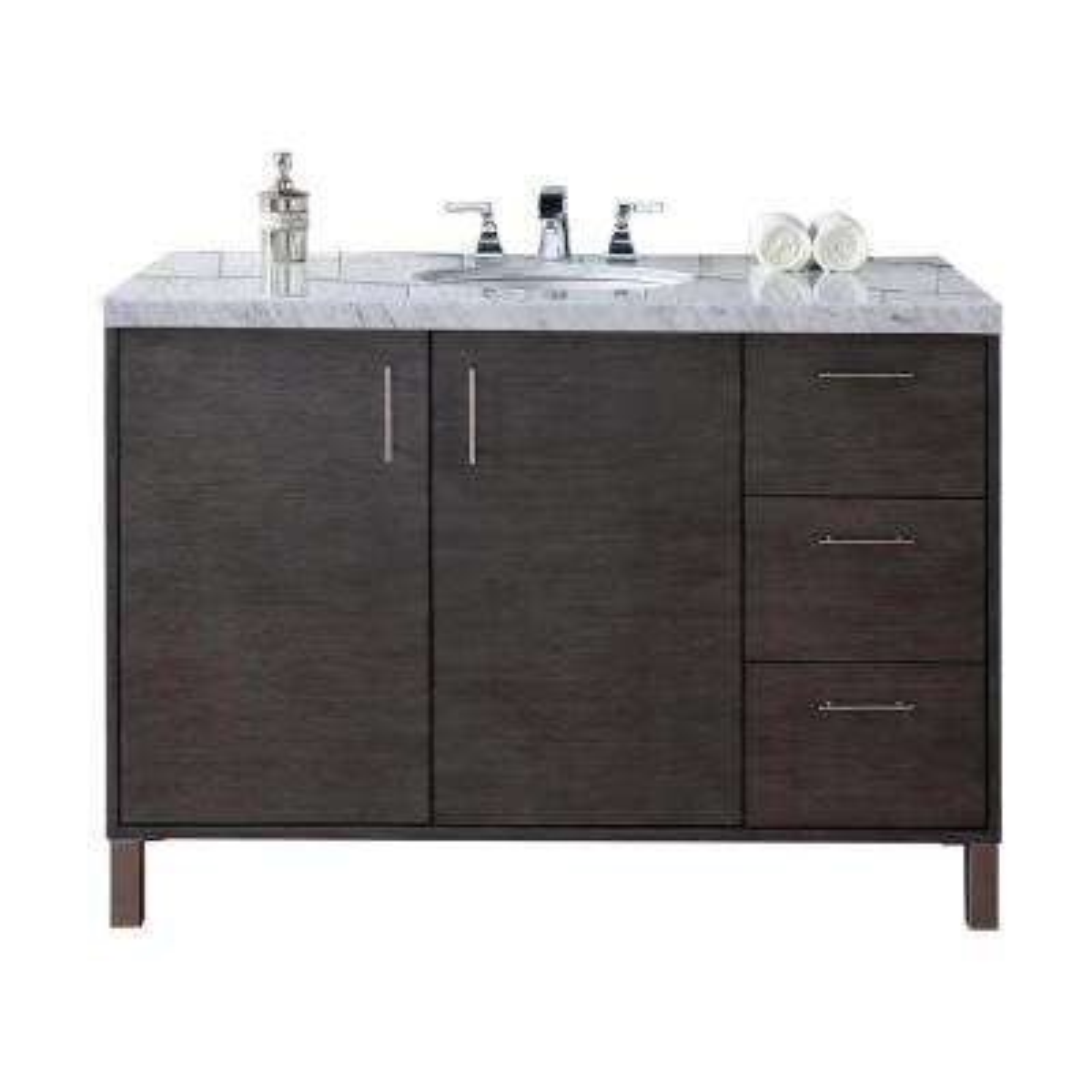 Metropolitan 48 in. W Single Vanity in Silver Oak with Marble Vanity Top in Carrara White with White Basin