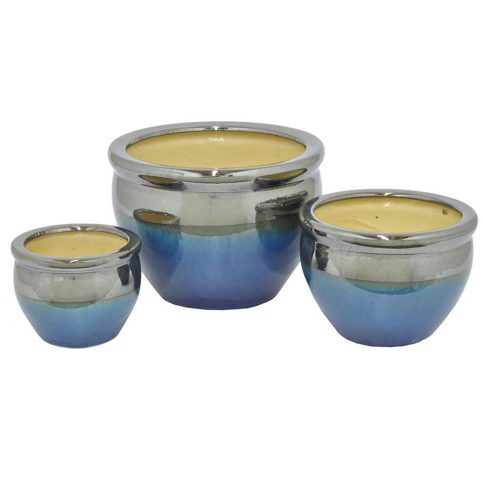 8.25 in. Ceramic Planters in Blue (Set of 3)