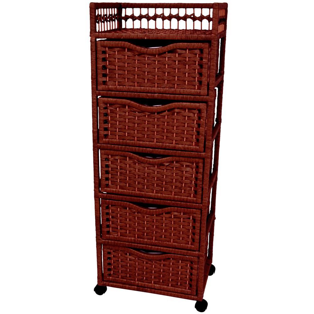 Oriental Furniture 5-Drawer Mahogany Wheeled Natural Fiber Storage Chest