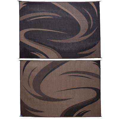 8 ft. x 18 ft. Swish Black/Brown Reversible Mat