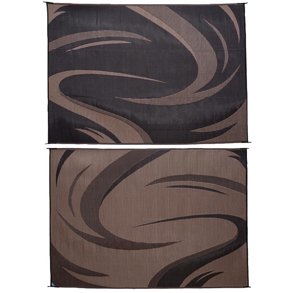 8 ft. x 11 ft. Swish Black/Brown Reversible Mat