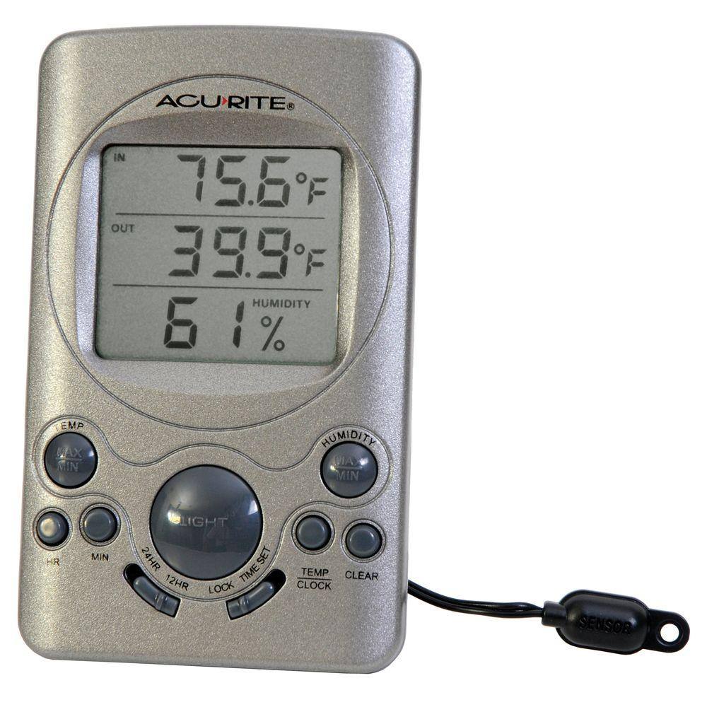 AcuRite Digital Window Thermometer with Humidity Display and Clock