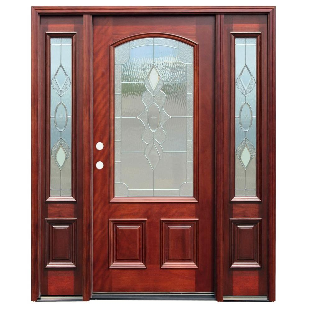 Pacific Entries 68 in. x 80 in. Strathmore Traditional 3/4 Lite Arch Stained Mahogany Wood Prehung Front Door with 12 in. Sidelites