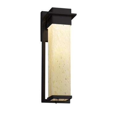 Fusion Pacific Large Matte Black LED Outdoor Wall Sconce with Droplet Shade