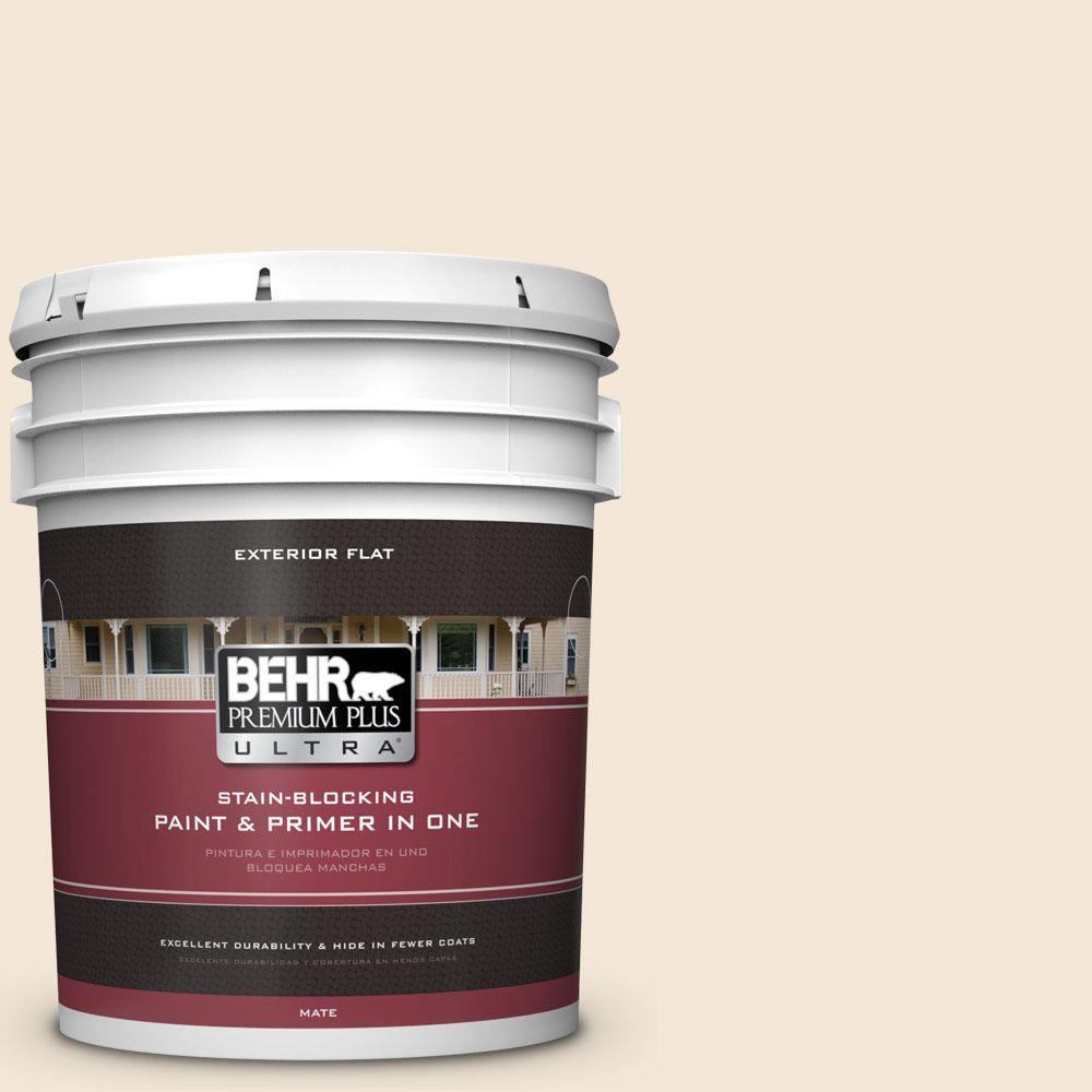 BEHR Premium Plus Ultra 5-gal. #BWC-23 Vanilla Frost Flat Exterior Paint