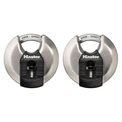 M40XT Magnum 2-3/4 in. Wide Stainless Steel Discus Keyed Padlock with 5/8 in. Long Shrouded Shackle (2-Pack)