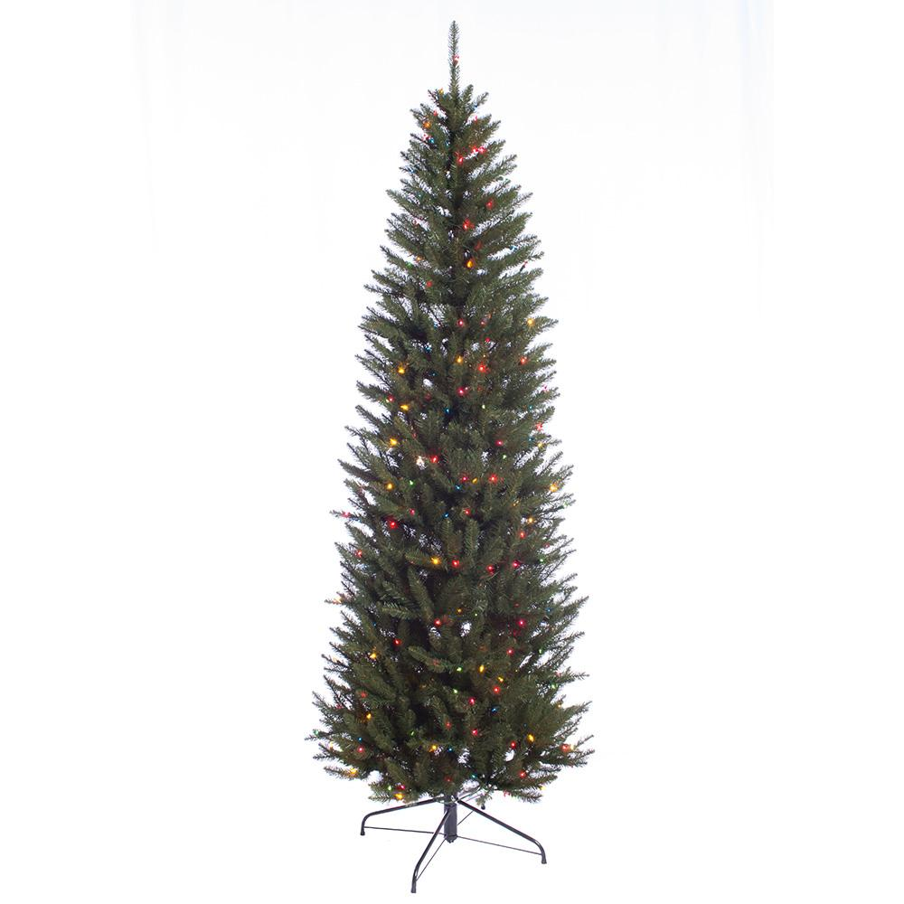 7 5 ft pre lit incandescent fraser fir pencil artificial christmas tree with 350 ul multi. Black Bedroom Furniture Sets. Home Design Ideas