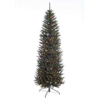 7.5 ft. Pre-Lit Incandescent Fraser Fir Pencil Artificial Christmas Tree with 350 UL Multi Lights