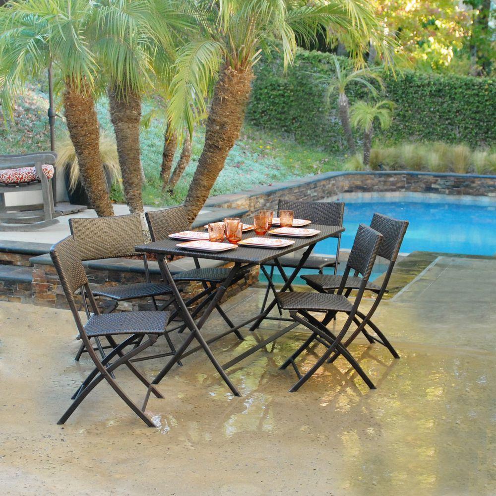 RST Brands Perfect Folding 7-Piece Patio Dining Set