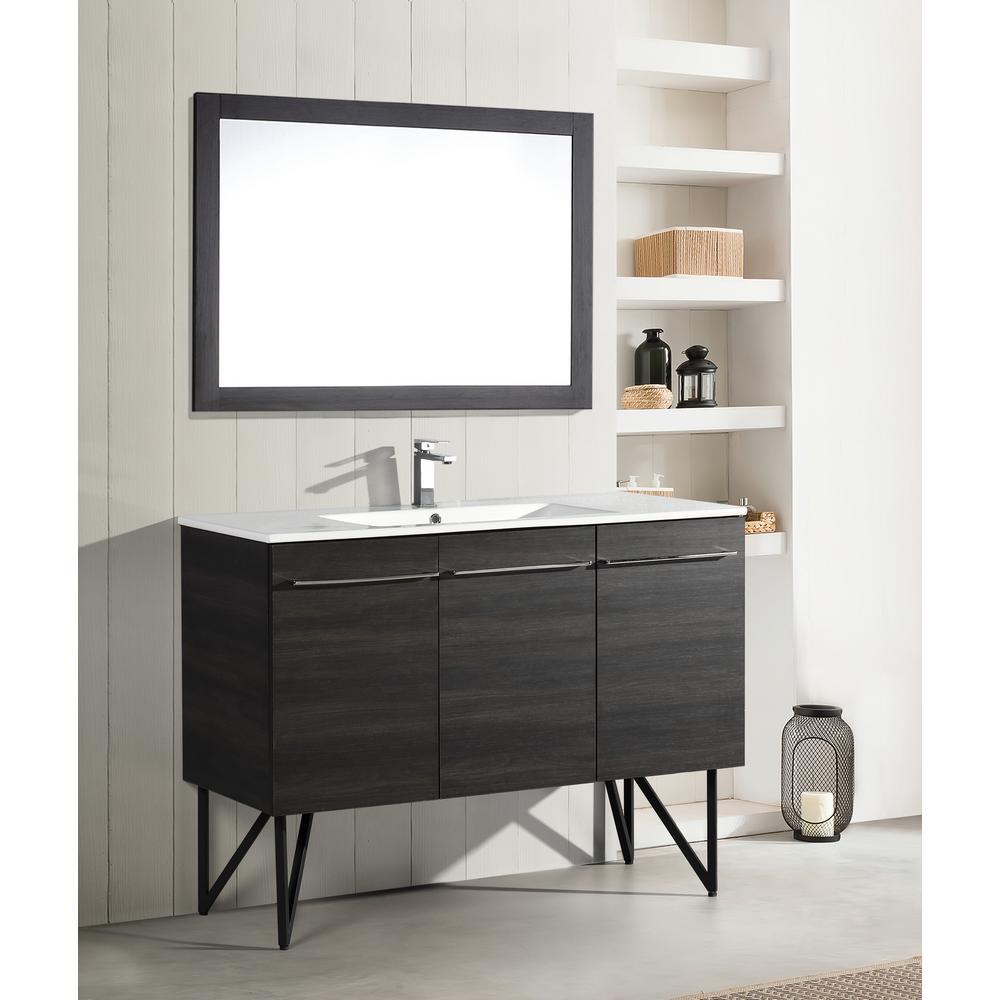 Annecy 48 in. Single, 2-Door, 1 Drawer Bathroom Vanity in Black with White Basin