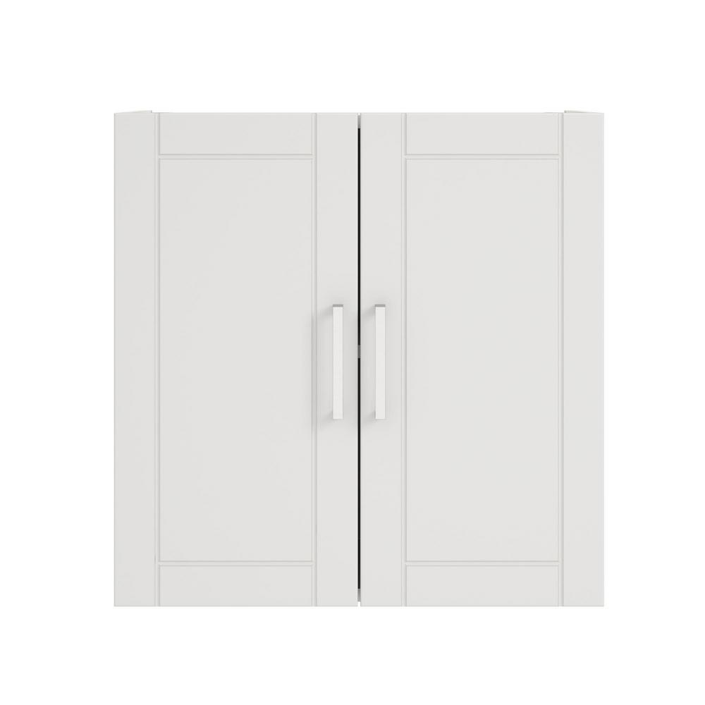 Ameriwood Home Kai 24 in. H x 24 in. W x 12.44 in. D Wall Cabinet in White