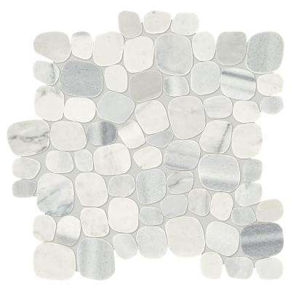 "Arctic White Pebble Flat Tile 12/""x12/"" Stone Mosaic Wall Shower Floor Back Splash"