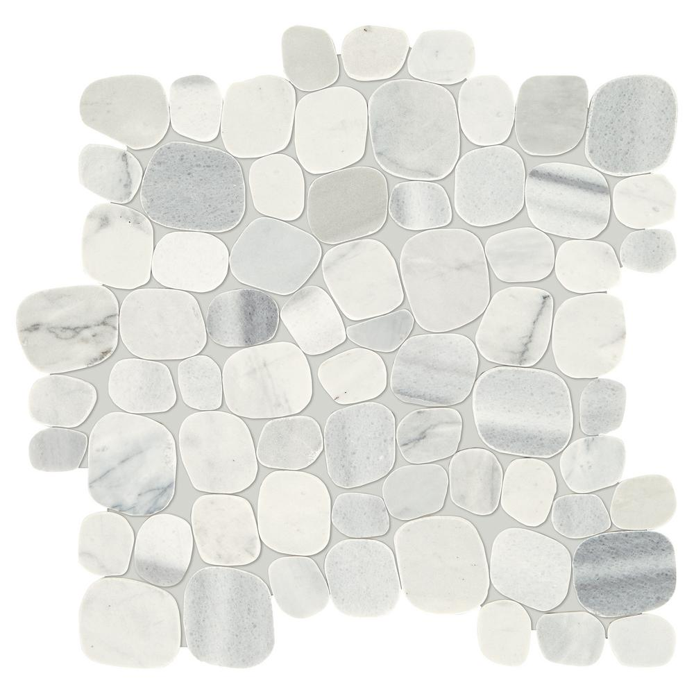 Stone Decor Shadow 12 In X 10 Mm Marble Pebble Mosaic