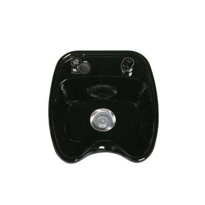 Backwash 18 in. W x 10 in. D Enamel Shampoo Sink with Fixture, Spray and Strainer in Black (Bracket Not Included)