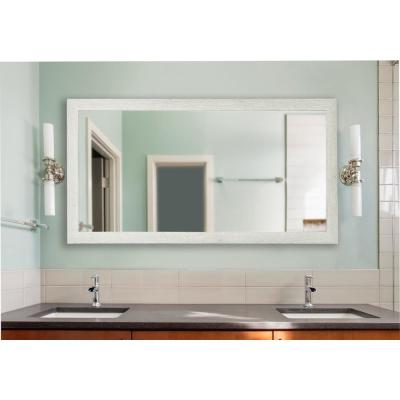 64 in. x 35 in. White Washed Antique Double Vanity Mirror
