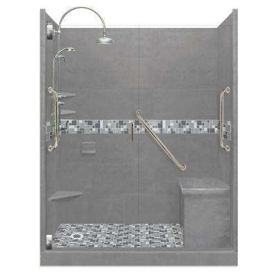 Newport Freedom Luxe Hinged 34 in. x 60 in. Left Drain Alcove Shower in Wet Cement and Satin Nickel Faucet/Hardware