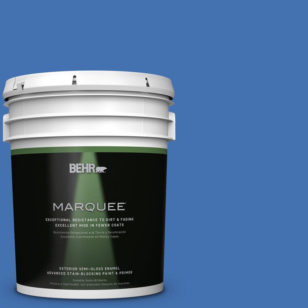 5 gal. #HDC-SM16-07 Croquet Blue Semi-Gloss Enamel Exterior Paint