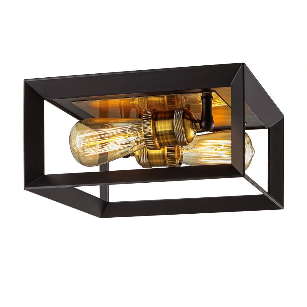 Walden Forge 2-Light Black Frame Flush Mount Ceiling Light with Antique Brass Sockets