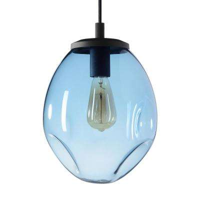Organic Contemporary 9 in. W x 12 in. H 1-Light Black Hand Blown Glass Pendant Light with Blue Glass Shade
