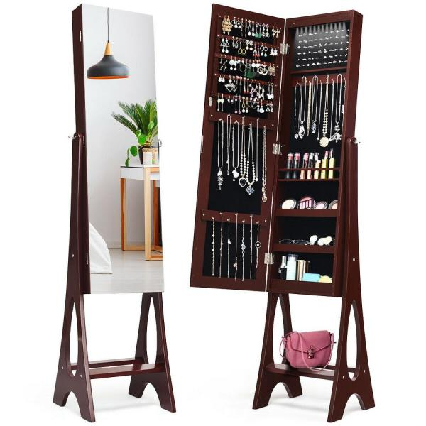 LED Jewelry Cabinet Armoire with Bevel Edge Mirror Organizer Mirrored Standing New