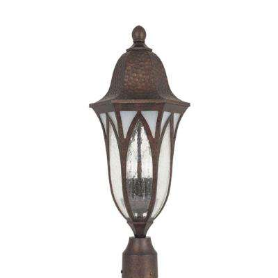 Charleston 3-Light Burnished Antique Copper Outdoor Post Lantern