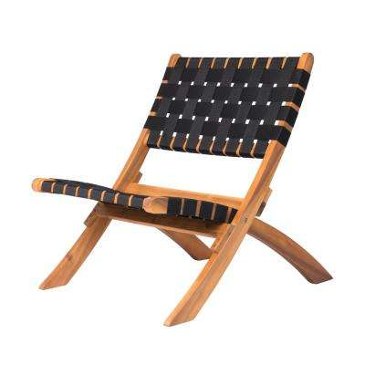 Sava Foldable Wood Outdoor Natural Black Web Lounge Chair