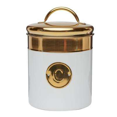 Simone 76 oz. Metal Coffee Storage Canister with Gold Emblem