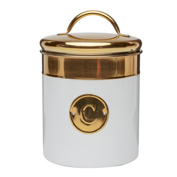 Amici Home Simone 76 oz. Metal Coffee Storage Canister with Gold Emblem