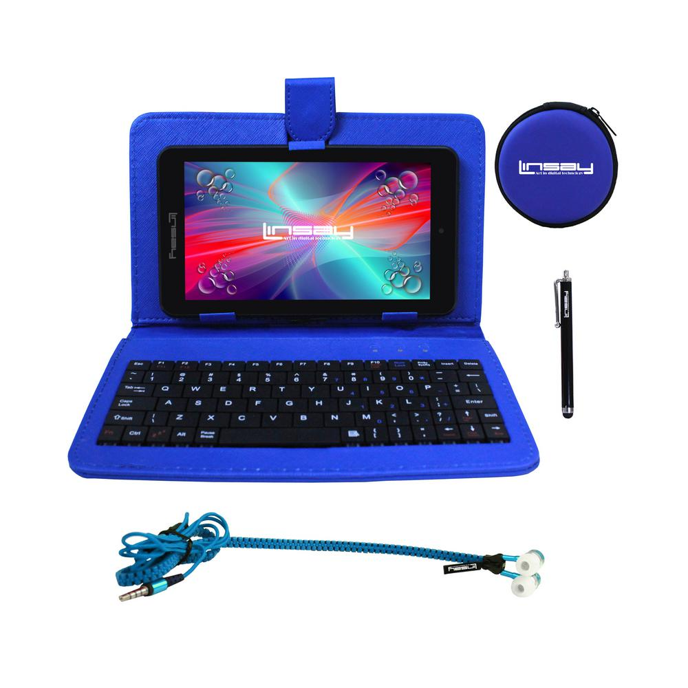 LINSAY 7 in. 2GB RAM 16GB Android 9.0 Pie Quad Core Tablet with Blue Keyboard, Earphones and Stylus Pen was $149.99 now $69.99 (53.0% off)