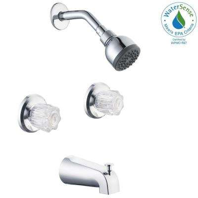 Aragon 2-Handle 1-Spray Tub and Shower Faucet in Chrome (Valve Included)