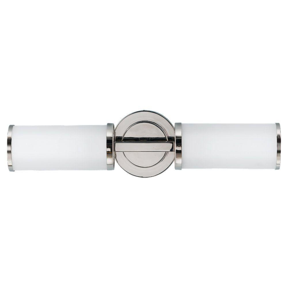 Feiss Industrial Revolution 19 in. W 2-Light Polished Nickel Vanity Light with Round Backplate and Cylinder Opal Glass Shades